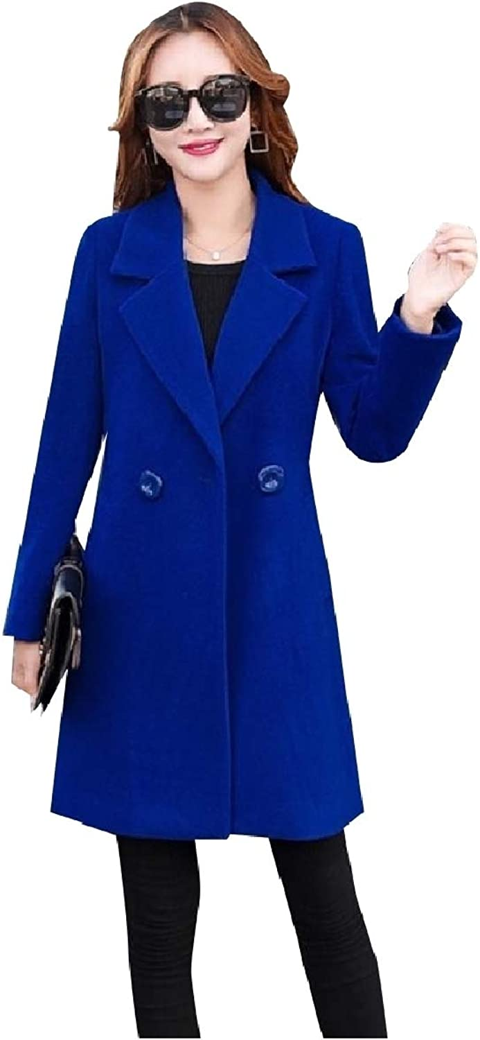 Mfasica Women's Warm Double Button Fall Winter Long Jackets Worsted Coat