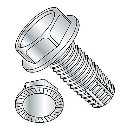 Steel Thread Cutting Screw, Zinc Plated Finish, Serrated Hex Washer Head, Type F, 1/4