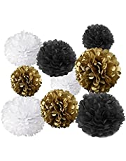 Gold Fortune 18PCS Tissue Hanging Paper Pom-poms Flower Ball Wedding Party Outdoor Decoration Tissue Paper Pom Pom Flowers Craft Kit (Gold & Black & White)
