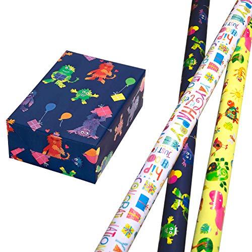 Geschenkpapier Kinder Set 3 Rollen (75 x 150 cm), bunte Monster-Motive auf mattem Fond, bunt glänzende Tiere, Geburtstags-Design hochwertig mit Glitter veredelt. Für Geburtstag, Kinder