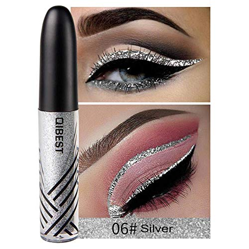 ASKSA Eyeliner Stift Glitzer Glänzende bunte Eyeliner Pailletten Flashings Wasserdichte Silber Gold Metallic Liquid Glitter Eyeliner für Party, Cosplay, Maskerade 13 Farben optional (06#Silber)