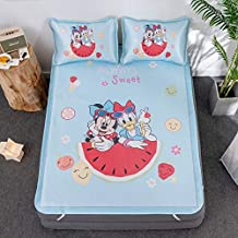 Disney Mickey Pluto Bed Mattress Topper Mat Children Girls Bed Mat Pillowcase Summer Ice Silk Sleeping Bed Mat Set for Adu...