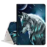 TOMYOU iPad 10.2 Case 2020 iPad 8th Generation Case / 2019 iPad 7th Generation Case, Slim Stand Soft Back Shell Protective Smart Cover for 10.2' iPad 8 / iPad 7 - Meditative Wolf