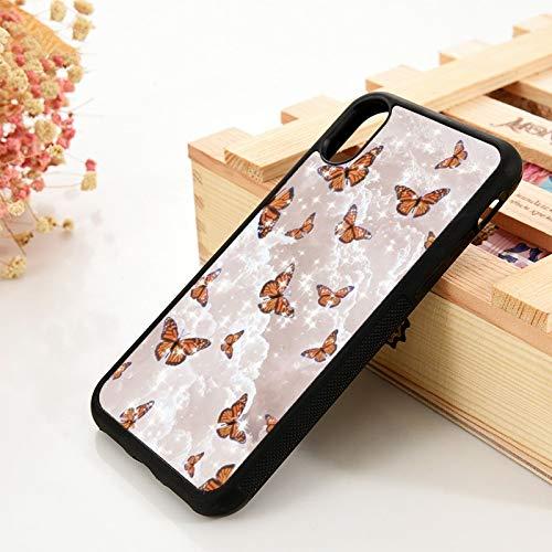 para iPhone 6 6S TPU Funda de gel de sílicepara iPhone 7 Plus X Xs 11 12 Mini pro Max XR Estuche para teléfono con forma de mariposa y nube Estética Funda de cuero, para iPhone 8 PLUS, lavanda