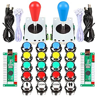 Fosiya 2 Player Arcade Games Ellipse Oval Style 8 Ways Joystick + 20 x LED Chrome Arcade Buttons for Video Games Standard Controllers All Windows PC MAME Raspberry Pi from Fosiya