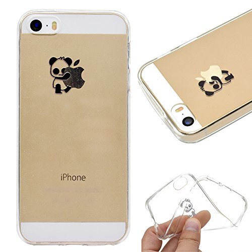 Artfeel Klar Weich Silikon Hülle für iPhone SE, iPhone 5S/5 Handyhülle Niedlich Karikatur Panda Muster,Ultra Dünn Leicht Transparent Flexibel TPU Bumper Stoßfest Zurück Schutzhülle