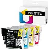 TONERPACK Cartucho de Tinta Compatible LC-980 LC980 LC980BK LC-980BK LC980C LC980M LC980Y Reemplazo para Brother DCP-J140W 145C 165C 185C 195C 197C 365CN 375CW (Pack 4)