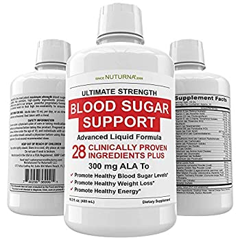 Blood Sugar Diabetic Support Liquid Supplement - 28 Vitamins Minerals and Herbs with 300 mg Alpha Lipoic Acid Multivitamin Formula - for Energy & Vitality Healthy Body Weight and Blood Sugar Control