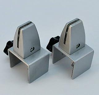 パーテーション台座 3-6mm厚対応 衝立等上部設置用 パネルスタンド シルバー (取付用レンチ付) 2個セット