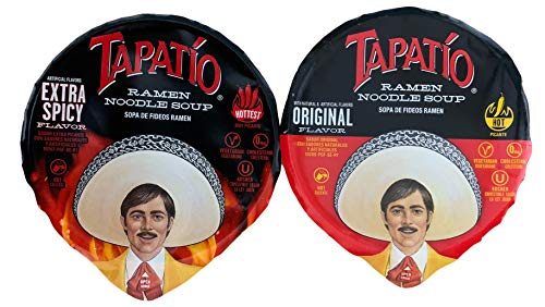 Tapatio Kosher Ramen Noodle Soup Bundle of Hot and Extra Spicy 2.29 oz Each