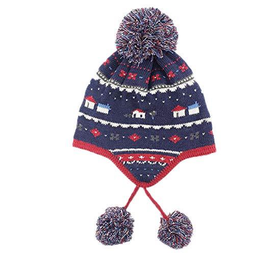 Keephen Baby-im Freien Warmer Hut-Wollknit-Baby-Jungen-Hut-Hut-Troddel-Schottische Art-Erbsen Warmer Hut MarineblauL(48-50cm)