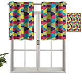 Hiiiman Cenefas de cortina para ventana de habitación, diseño trapezoidal, juego de 2, cenefas de 137 x 91 cm para ventana de cocina con ojales.