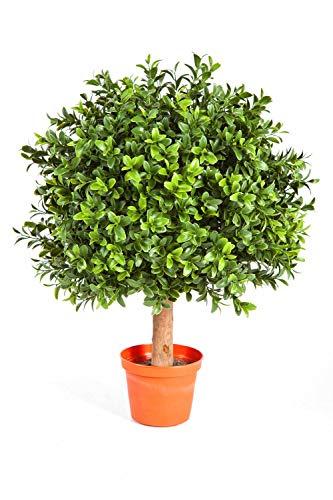 artplants.de Künstliche Buchskugel Tom auf Stamm, 250 Blätter, 35cm, Ø 25cm - Künstlicher Buchsbaum Buxkugel Buchsbaumkugel