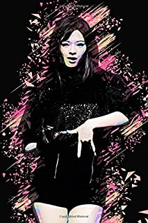 "Twice Jeongyeon: Iridescent Holographic Color Pop Art Member Performing on Stage 100 Page 6 x 9"" Blank Lined Notebook Kpop..."