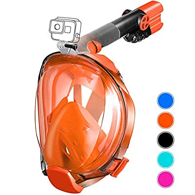 aidong Full Face Snorkel Mask,180 Panoramic Anti Fog Anti Leak Foldable Snorkel Mask,Advanced Breathing System Allows You to Breathe More Fresh Air While Snorkeling,Suitable for Adults&Kids