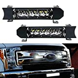 iJDMTOY Front Grille LED Light Bar Kit Compatible With 2017-up Ford F250 F350 Lariat King Ranch, Includes (2) 30W CREE LED Lightbars, Grill Panel Mounting Bezels/Brackets, On/Off Switch Relay Wirings