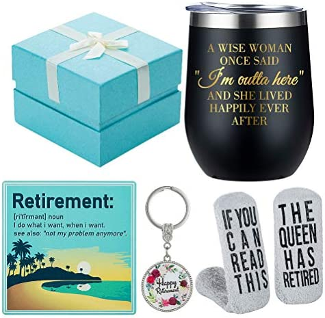 Retirement Gifts for Women 2021 Funny Wine Gift Basket for Retiring Friends Boss Coworkers Teachers product image