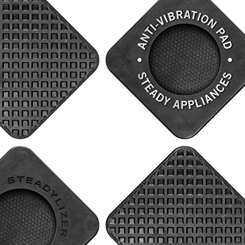 Anti Vibration Pads for Washing Machine - 4pc - Prevent Your Washer and Dryer From Walking and Reduce Noise - High Friction Hard Wearing Square Rubber Foot Pads - Universal Pedestals and Shock Support