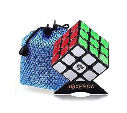 ROXENDA Aolong V2 3x3 Speed Cube, Cubo de Velocidad 3x3 - Giro Fácil y Juego Suave para Principiantes y Profesionales, con Soporte de Cubo Negro