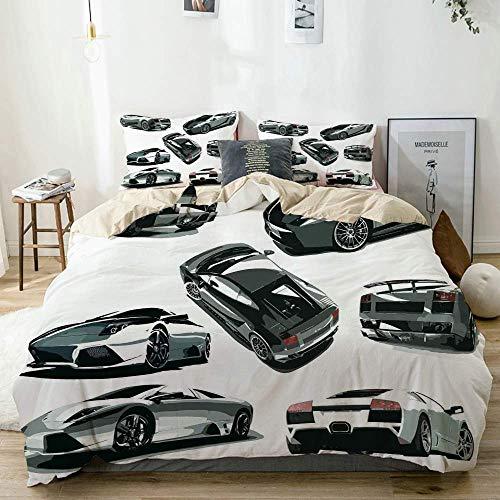 Juego de funda nórdica beige, gris, coches de varios ángulos, vehículo temático de la industria del automóvil, juego de cama decorativo de 3 piezas con 2 fundas de almohada, fácil cuidado, antialérgic