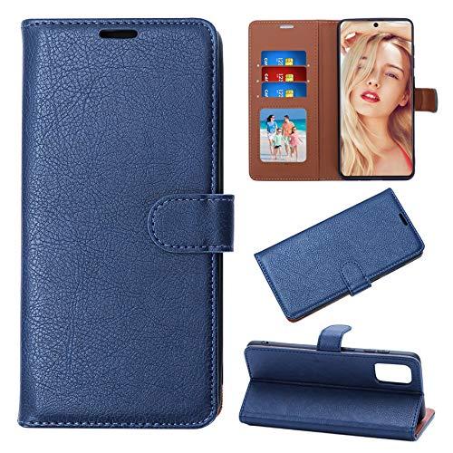 iZeze Funda para Samsung A71 – Samsung A71 – Funda [bloqueo RFID] Flip Wallet Case PU piel para Galaxy A71 tarjetero, cierre magnético, función atril, completo (azul)