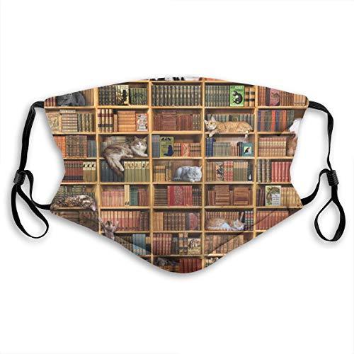 Protección bucal ajustable con filtro vintage biblioteca gato libros anti polvo cara transpirable para niños adultos
