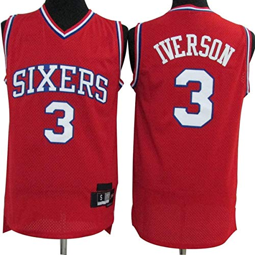 WSWZ Camiseta De La NBA para Hombre, 3# Allen Iverson Camiseta De Baloncesto De La NBA, Cómoda Camiseta De Ropa Deportiva De Baloncesto De La NBA,S(165~170cm/50~65kg)