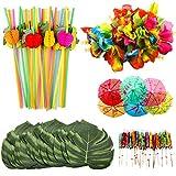 OOTSR 108pcs Décorations de fêtes Tropicales, Incluez Feuilles de Palmier de Simulation, Fleurs d'hibiscus en Soie, Cure-Dents de Parapluie, Pailles de Fruits 3D pour Hawaïen Luau Fête
