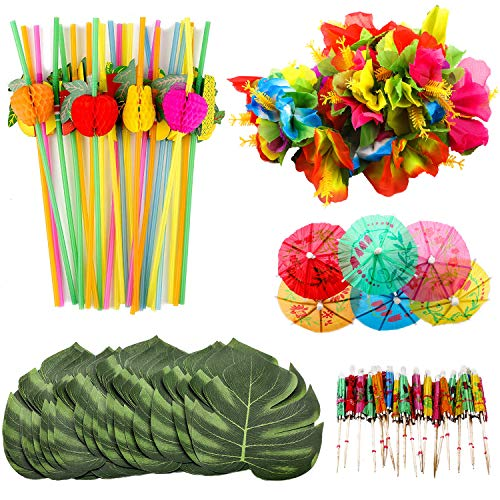 OOTSR 108pcs Tropical Party Decorations, Include Simulation Palm Leaves, Silk Hibiscus Flowers, Mini Umbrella Toothpicks, 3D Fruit Straws for Hawaiian Luau Party Table Decorations
