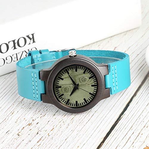 IOMLOP Reloj de Madera, Esfera Redonda Verde única, Reloj de Madera de ébano para Mujer, Reloj de Pulsera de Cuarzo con Banda de Cuero Azul Brillante a la Moda, Reloj de Pulsera de Lujo para Mujer