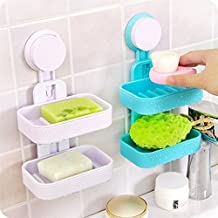 GaxQuly Double Layer Soap Box Suction Cup Holder Rack Bathroom Shower Soap Dish Hanging Tray Wall Holder Storage Holders, 1 Pcs Double Layer Soap Box(Colour May Vary)