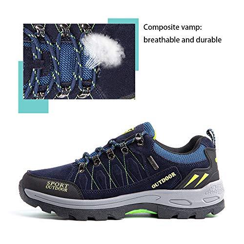 Zapatillas Trekking Hombre Antideslizantes Zapatos de Senderismo Transpirable Botas Montaña Bajas al Aire Libre 1 Azul Talla 42 EU