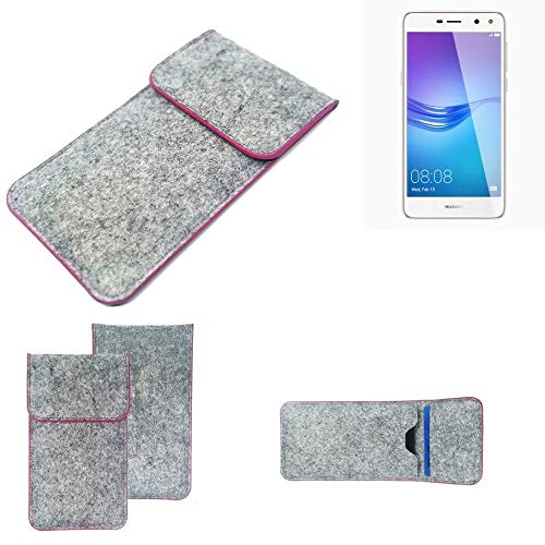 K-S-Trade Handy Schutz Hülle Für Huawei Y6 (2017) Single SIM Schutzhülle Handyhülle Filztasche Pouch Tasche Hülle Sleeve Filzhülle Hellgrau Pinker Rand