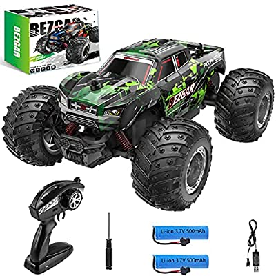 BEZGAR 20 Toy Grade 1:20 Scale Remote Control Car,2WD Top Speed 15 Km/h Electric Toy Off Road 2.4GHz RC Monster Vehicle Truck Crawler with Two Rechargeable Batteries for Boys Kids and Adults by BEZGAR