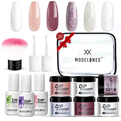Dipping Powder Nail Kit with 6 Colors White Glitter,Dip Powder System Starter Nail Kit Acrylic Dipping System for French Nail Manicure Nail Art Set Essential Kit,Portable Kit for Travel …