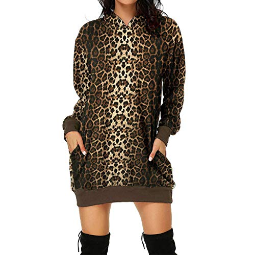 Pullover Leoparden Kleid Damen Langarm Hoodie Kleid Herbst Winter Casual Oversize Long Bluse Shirtkleid Kanpola