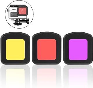 Topiky Filtro UV Cámara Deportiva de acción portátil 3-20M Impermeable Ligero Aleación Durable Vidrio óptico Filtro de Lente Protectora para SJCAM SJ8 Air/Pro/Plus(Rojo + Amarillo + Púrpura)