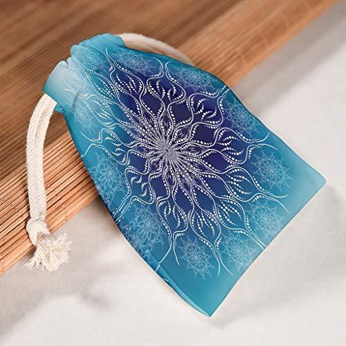 O2ECH-8 Set van 12 Gradation Blauw Mandala Trekkoord opslag koordsluiting huwelijk ademende Toy Pouch Bag past Valentijnsdag verjaardag geschenk wrap - patroon gedrukt 12 * 18cm wit