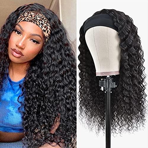 Headband Wig Deep Wave Human Hair for Black Women Brazilian Virgin Hair Deep Curly Human Hair Headband Wigs Glueless Scarf Wig None Lace Front Wigs 150% Density 14 Inch
