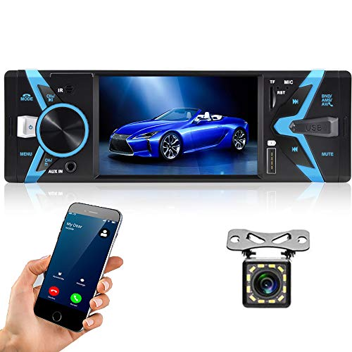 Hikity Single Din Car Stereo System 4.3 Inch Digital Screen Car Radio Bluetooth Audio Hands Free Call, FM Receiver, USB Fast Charging, SWC Remote Control, MP3/USB/AUX Input + LED Rear View Camera
