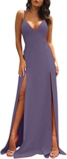 Women's Sexy Sleeveless Spaghetti Strap Backless Split Cocktail Long Dress