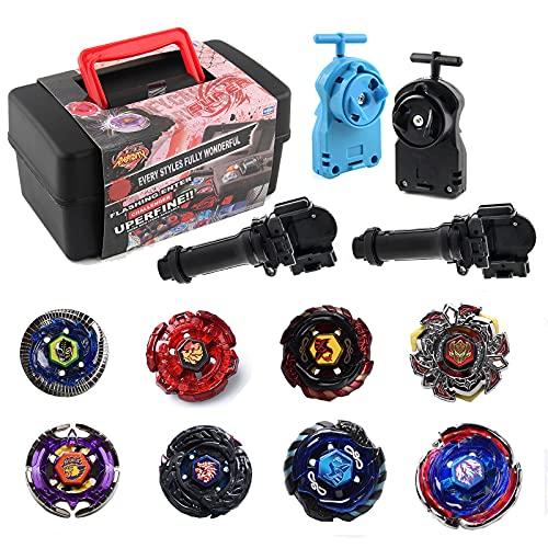 8 Pcs Gyro Spinning Fusión 4D Conjuntos De Metal, Bey-Blade Burst Peonzas, Gyro con 2 Launcher con Estadio, Regalo para Niños