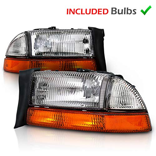 AmeriLite Chrome Headlights Parking Turn Signal Sets (4Pc) for Dodge Dakota/Durango (Pair) w/Mounting Bracket