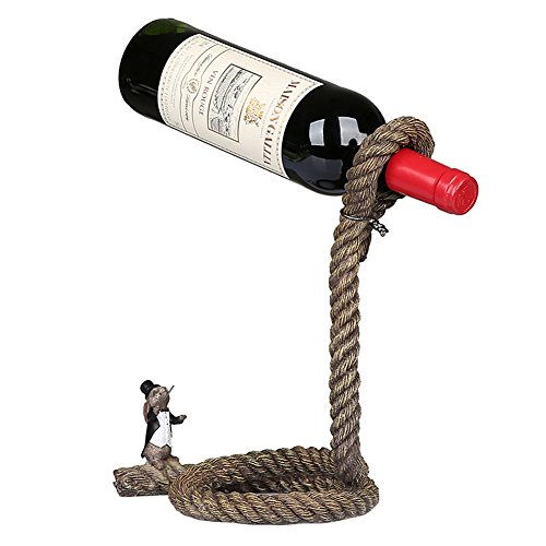 Suspend Rope Sculpture Wine Bottle Holder