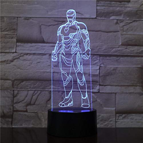 ShiyueNB Iron Man Marvel Cartoon Action Lamp 3D Nachtlicht LED Flash Acryl USB slaapkamer creatief hoofdstuk