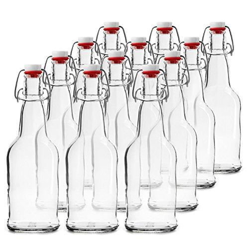 Chef's Star 16 Oz Empty Beer Bottles, Swing Top Glass Bottles, Flip Top Glass Bottle with Caps