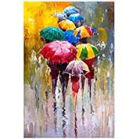 5DDiyダイヤモンド絵画抽象芸術雨の中で傘を持っている人々の群衆フルスクエアラインストーンの絵