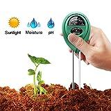 Bodentester, ToWinle 3-in-1 Digitales Bodenmessgerät pH Wert Messgerät Boden Feuchigkeitmesser Lichtintensität Messer (Keine Batterie Erforderlich)