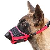 HEELE Bozal para Perros Bozal Perro Anti-Mordedor Fit Bozal para Perros Malla Transpirable con Forma de Boca para Perros, Negro-Rojo, M