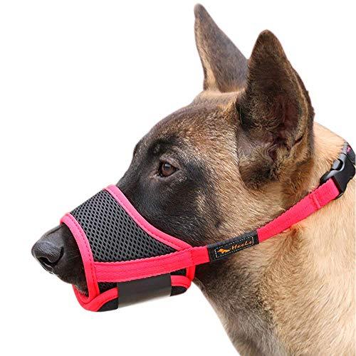 HEELE Bozal para Perros Bozal Perro Anti-Mordedor Fit Bozal para Perros Malla Transpirable con Forma de Boca para Perros, Negro-Rojo, S